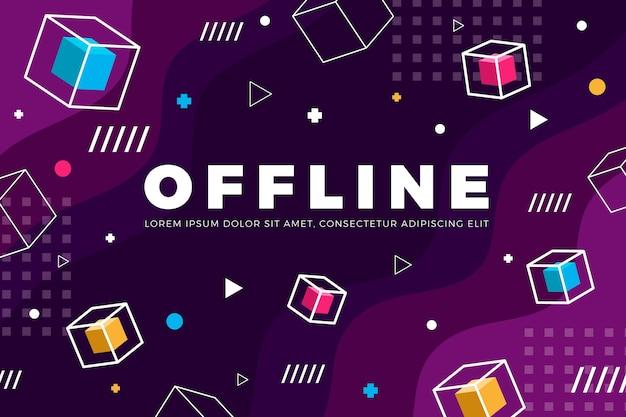 Banner di twitch offline nel concetto di memphis Vettore Premium