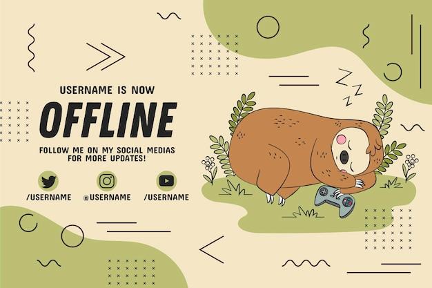 Bradipo offline di twitch banner Vettore Premium
