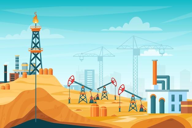Paesaggio di estrazione petrolifera. stazione di fabbrica con perforazione del pozzo, processo di estrazione, torre della piattaforma petrolifera Vettore Premium