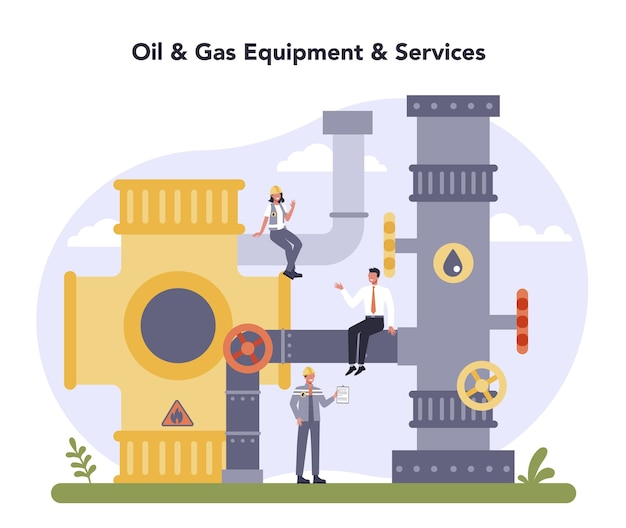 Concetto di industria petrolifera e del gas. Vettore Premium
