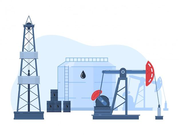 Illustrazione dell'industria petrolifera del petrolio, paesaggio urbano del fumetto con la piattaforma di produzione in giacimento di petrolio, stoccaggio nell'icona dei carri armati su bianco Vettore Premium