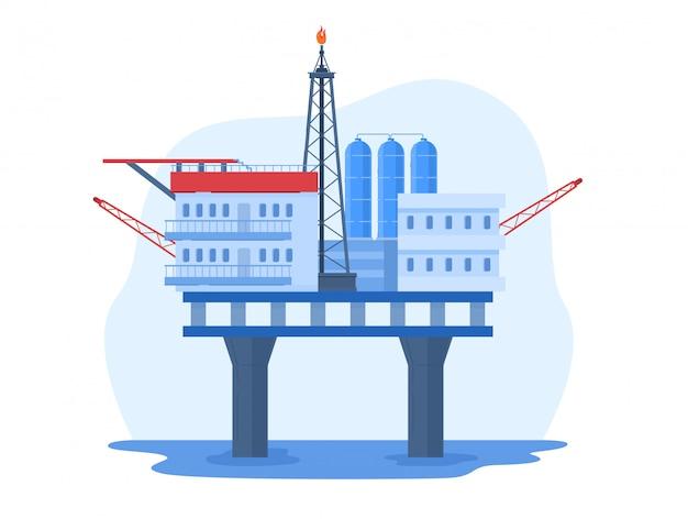 Illustrazione dell'industria petrolifera del petrolio, paesaggio urbano del fumetto con la piattaforma di perforazione dell'impianto di perforazione dell'acqua, stazione offshore su bianco Vettore Premium