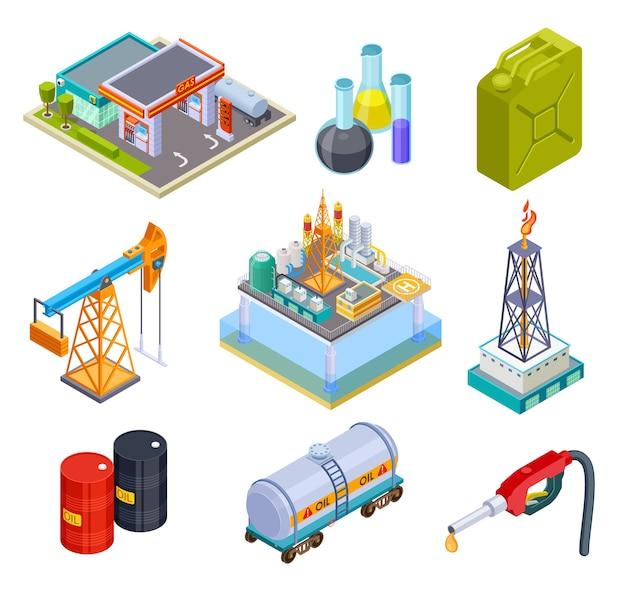 Industria del gasolio isometrica Vettore Premium