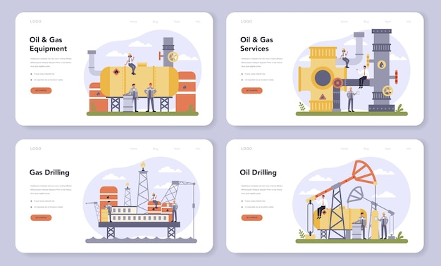 Set di banner web o pagina di destinazione per l'industria petrolifera e del gas. fabbrica di carburante, barile con gasolio. esplorazione industriale di petrolio, gasolio. tecnologia moderna per l'esplorazione. Vettore Premium