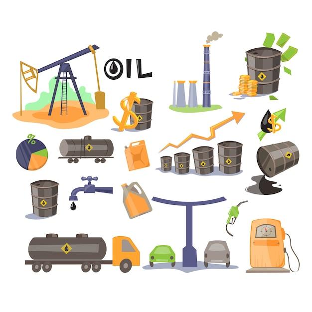 Set di icone dell'olio. Vettore Premium
