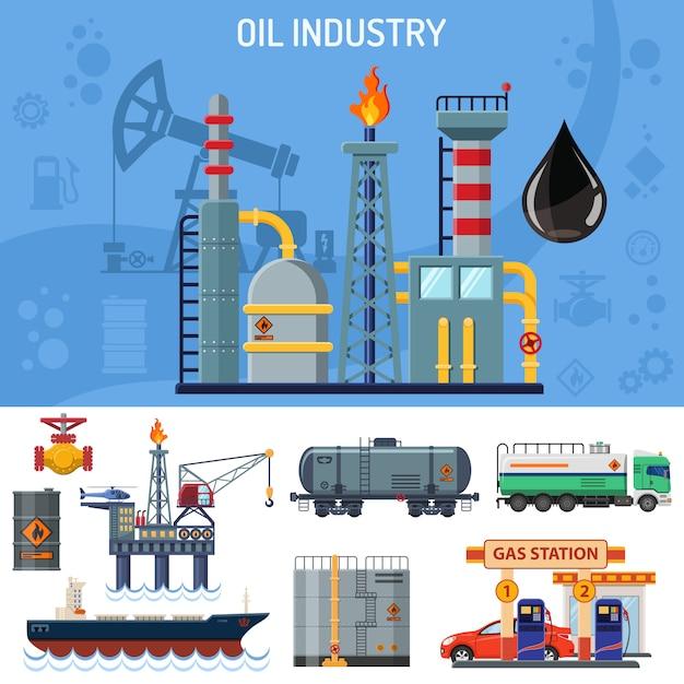 Banner dell'industria petrolifera Vettore Premium