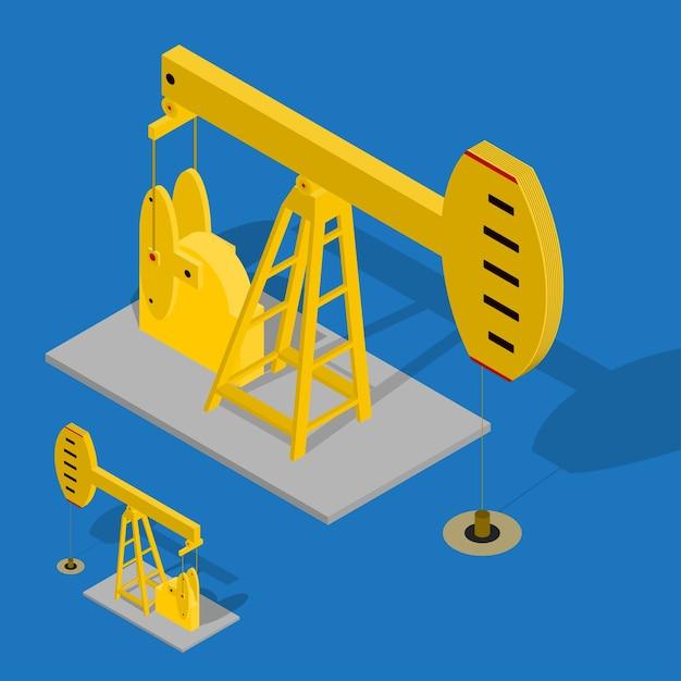 Industriale di energia della pompa dell'olio su una priorità bassa blu. attrezzature per l'industria. vista isometrica. Vettore Premium