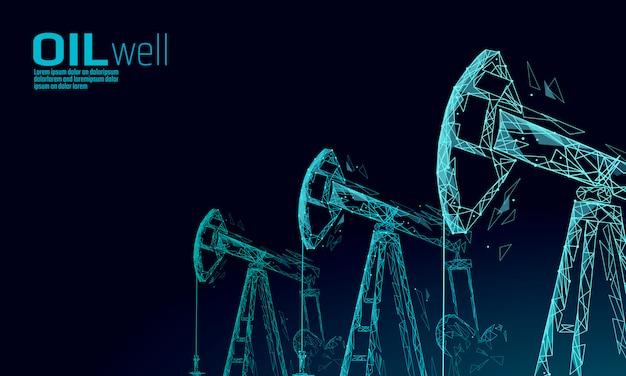 Concetto di business low poly juck rig rig olio. economia finanziaria produzione di benzina poligonale. le torri del pumpjack dell'industria petrolifera del petrolio che pompano la linea del punto di perforazione il collegamento collega l'illustrazione blu di vettore dei punti Vettore Premium