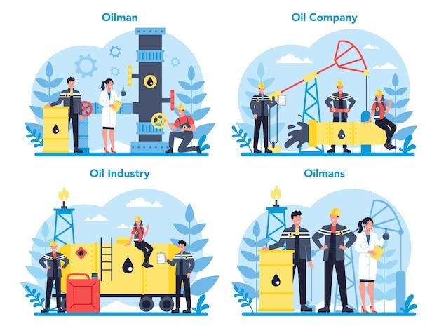 Insieme di concetto di petroliere e industria petrolifera. martinetto a pompa che estrae petrolio greggio dalle viscere della terra. produzione e affari di petrolio. Vettore Premium
