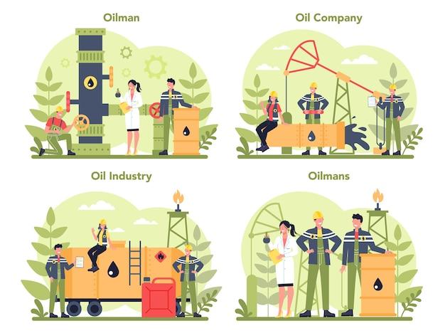 Insieme di concetto di petroliere e industria petrolifera Vettore Premium