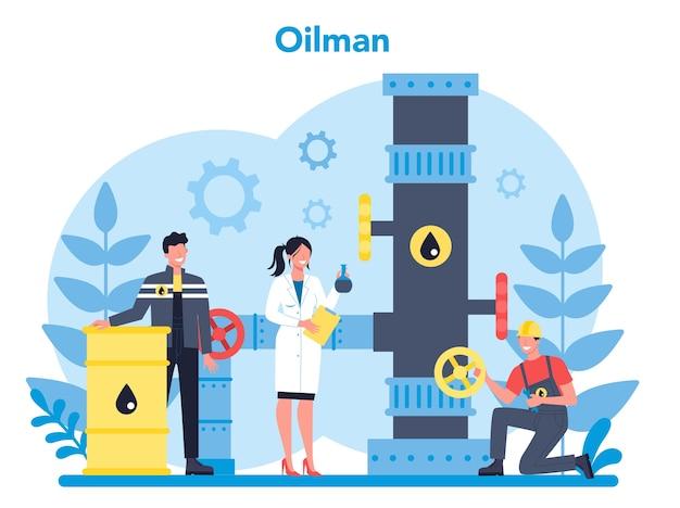 Oilman e concetto di industria petrolifera Vettore Premium