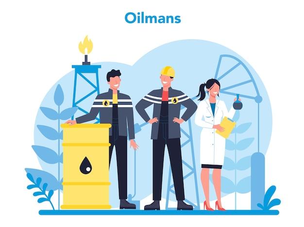 Oilman e concetto di industria petrolifera. Vettore Premium