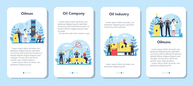 Set di banner di applicazioni mobili per l'industria petrolifera e del petroliere. martinetto a pompa che estrae petrolio greggio dalle viscere della terra. produzione e affari di petrolio. Vettore Premium