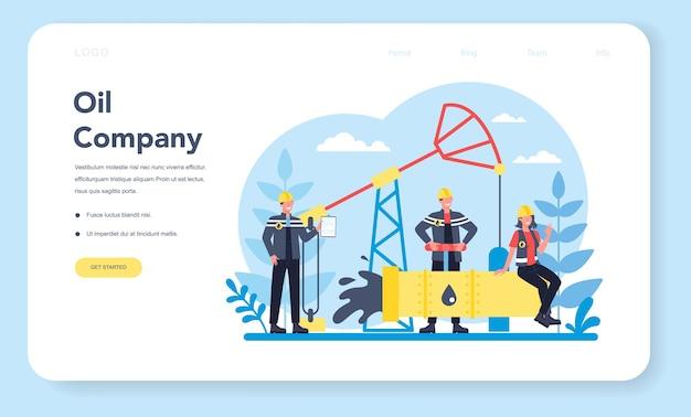 Banner web o pagina di destinazione del petroliere e dell'industria petrolifera. martinetto a pompa che estrae petrolio greggio dalle viscere della terra. produzione e affari di petrolio. Vettore Premium