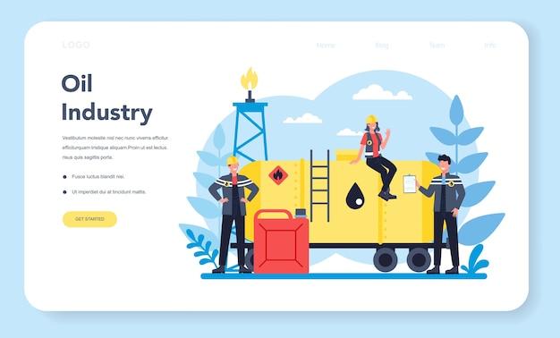 Banner web o pagina di destinazione del petroliere e dell'industria petrolifera Vettore Premium
