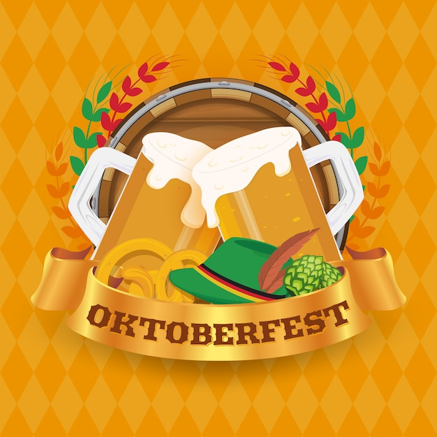 Concetto del fondo di festival della birra di oktoberfest Vettore Premium