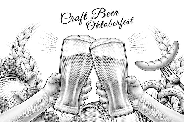 Celebrazione dell'oktoberfest design in stile inciso, mani che tengono bicchieri di birra e tifo su sfondo bianco pieno di ingredienti Vettore Premium