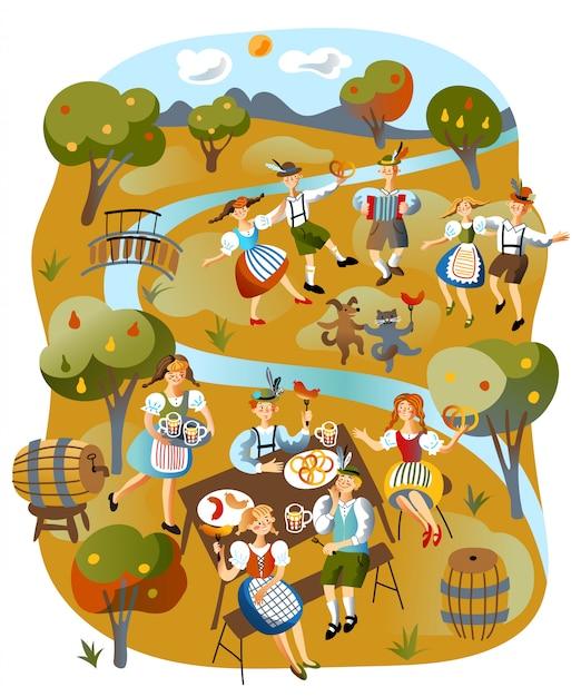 Illustrazione di celebrazione dell'oktoberfest Vettore Premium