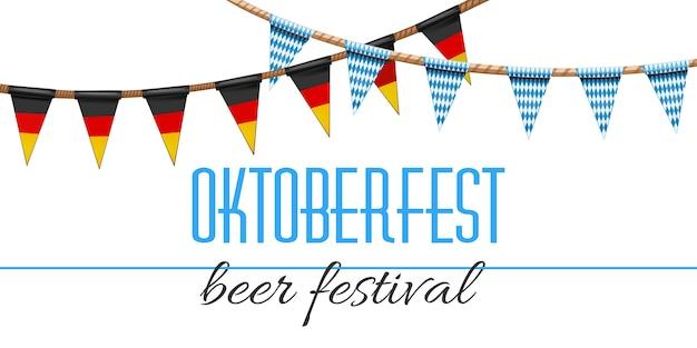 Decorazione dell'oktoberfest. festa della birra decorata con i colori tradizionali delle bandiere tedesca e bavarese. ghirlande con motivo a scacchi bianco-blu e tricolore tedesco. Vettore Premium