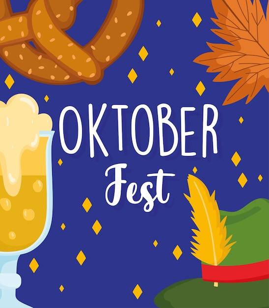Festival dell'oktoberfest, priorità bassa della foglia della ciambellina salata della birra del cappello, illustrazione tradizionale di celebrazione della germania Vettore Premium