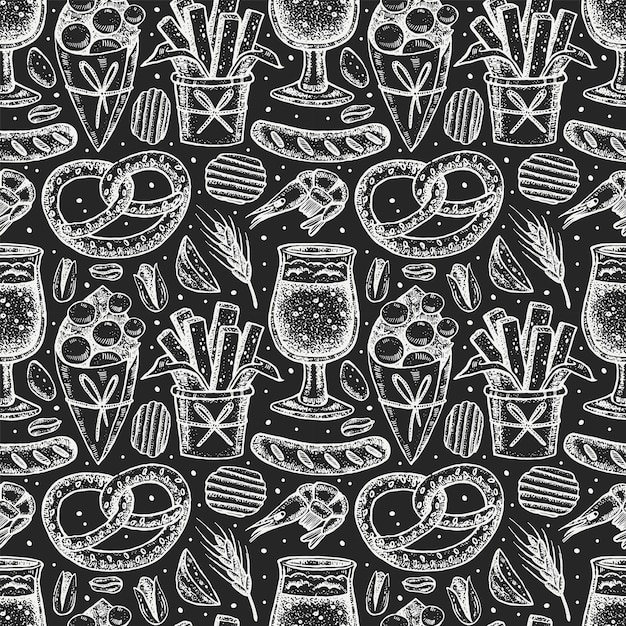 Oktoberfest seamless pattern, chalk board design. Vettore Premium