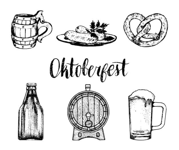 Raccolta di simboli oktoberfest per volantino e poster del festival della birra. set abbozzato a mano di tazza di vetro, pretzel, barile ecc. Vettore Premium