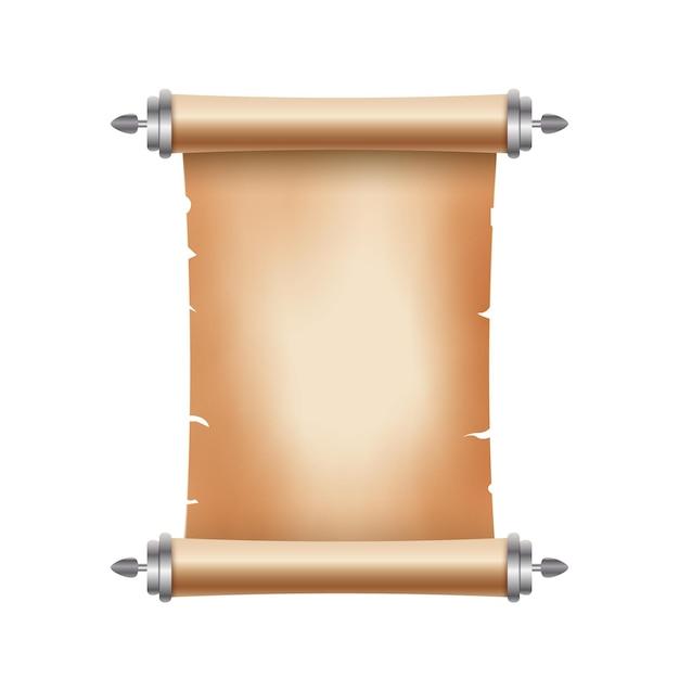 Vecchia carta pergamena antica con posto per il testo. vecchia illustrazione del documento. banner di papiro pergamena. scorrimento antico. Vettore Premium