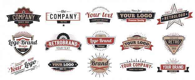 Vecchi distintivi. insieme del segno dell'annata, retro distintivo premium e logo emblema Vettore Premium