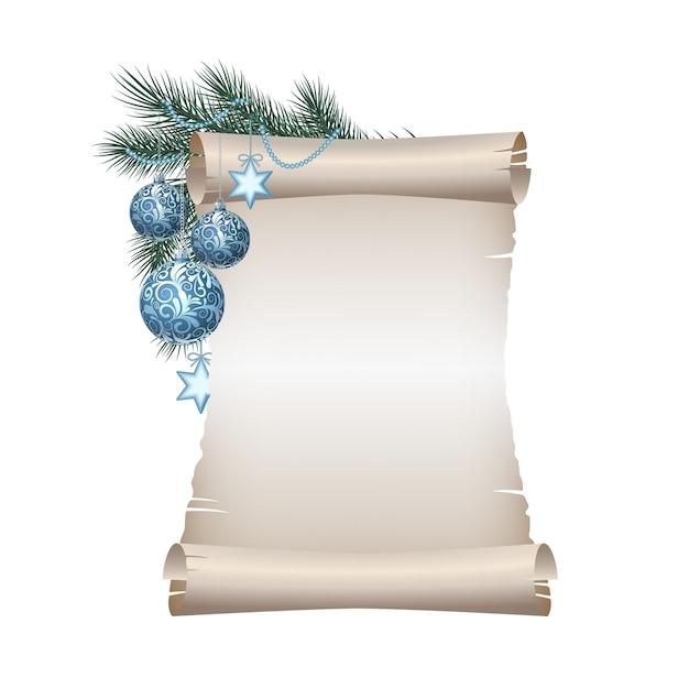 Vecchia carta pergamena in bianco con palle di natale blu sul ramo di abete verde Vettore Premium