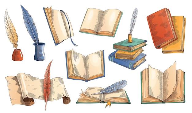 Libro vecchio. set di vecchi libri aperti con pagina vuota, rotolo di carta pergamena con penna d'oca d'epoca e penna d'oca piuma nel calamaio. Vettore Premium