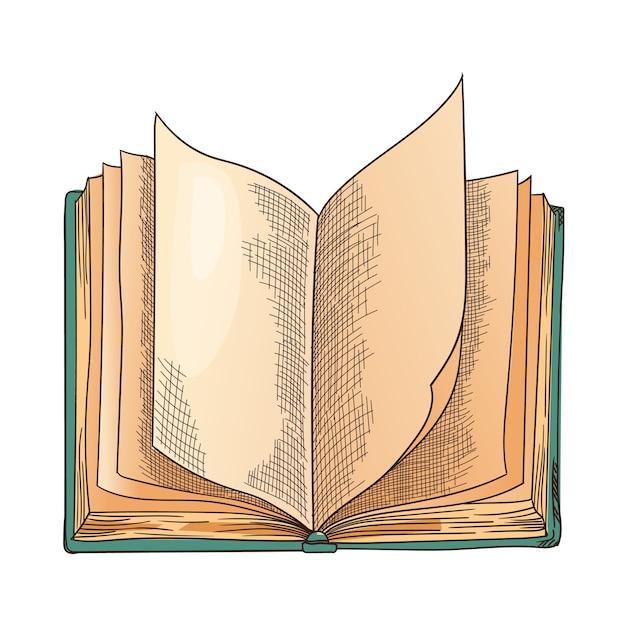 Libro vecchio. vecchio libro aperto di vettore con la pagina vuota Vettore Premium