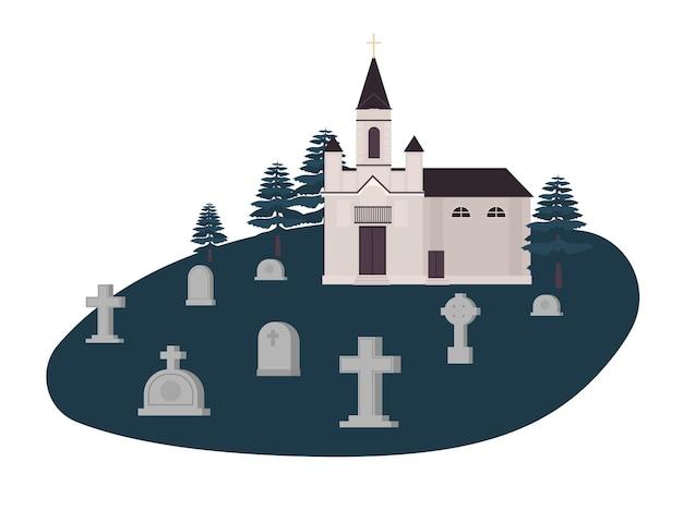 Vecchio cimitero, cimitero o cimitero con tombe, lapidi o lapidi e chiesa cristiana, chiesa o cappella. Vettore Premium
