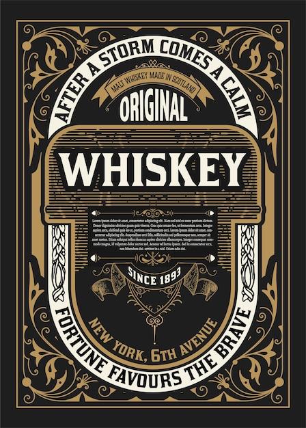 Vecchio design dell'etichetta per l'etichetta di whisky e vino Vettore Premium