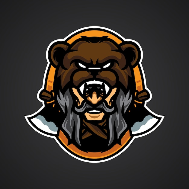 Logo della testa dell'orso dell'uomo anziano Vettore Premium