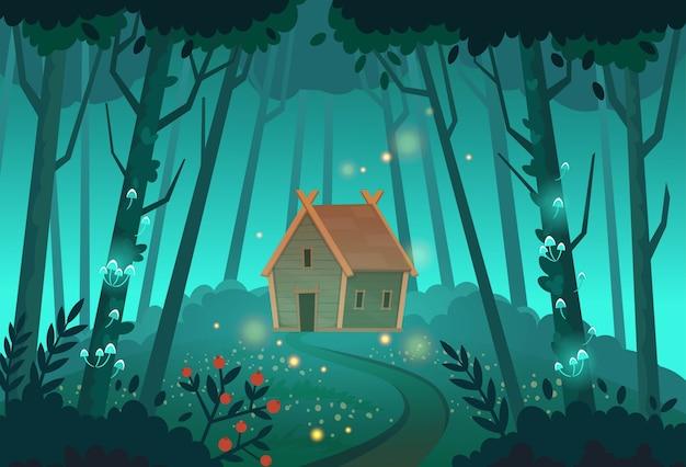 Vecchia capanna di streghe mistiche nella foresta. illustrazione del fumetto. Vettore Premium
