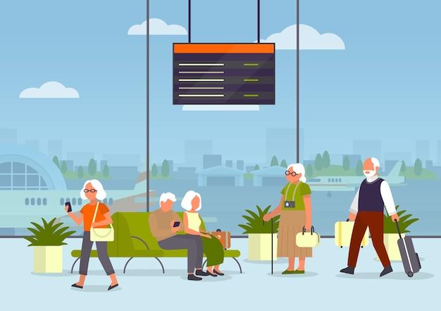 Anziani in aeroporto. idea di viaggio e tourim. idea di viaggio e vacanza. arrivo in aereo. passeggero con bagaglio. Vettore Premium