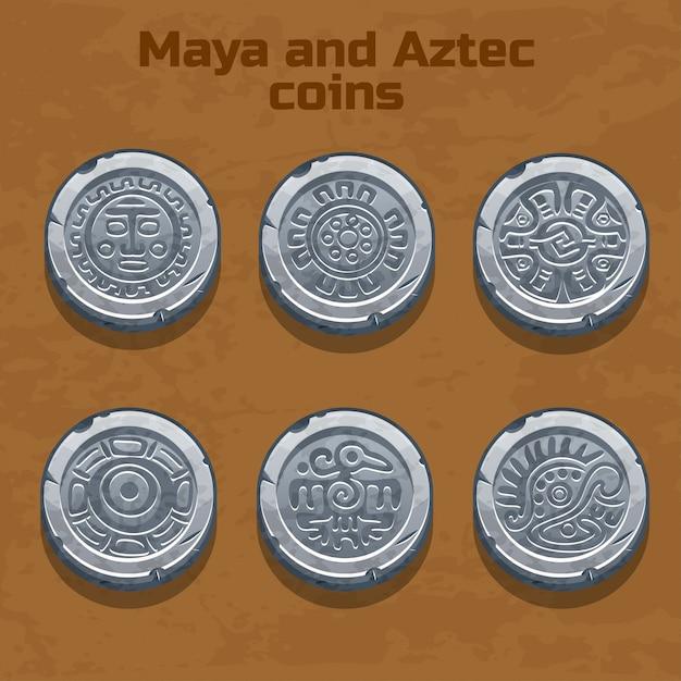 Vecchie monete azteche e maya d'argento, elemento di gioco Vettore Premium