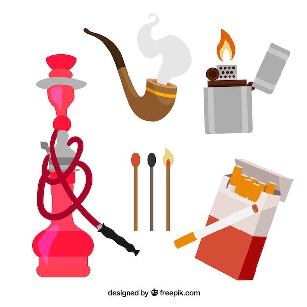Vecchio set attrezzature di fumare Vettore Premium