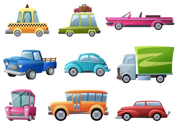 Set di auto vecchie, vintage e retrò Vettore Premium