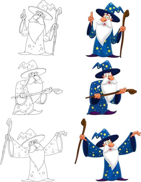 Personaggio dei cartoni animati del vecchio mago. insieme di raccolta isolato su sfondo bianco Vettore Premium