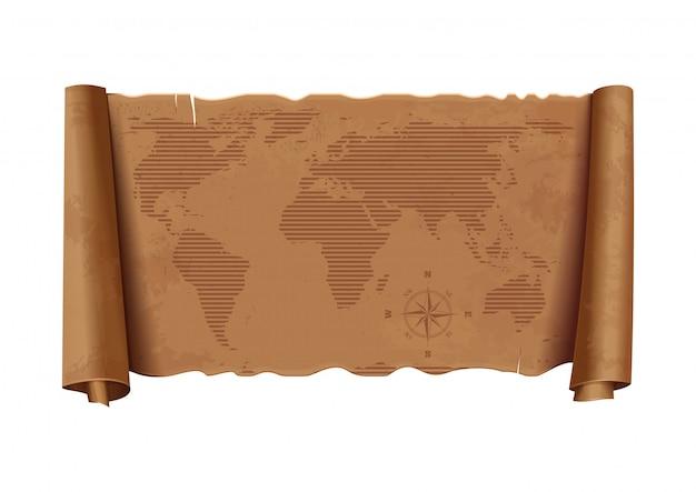 Vecchia mappa del mondo. mappa antica dettagliata orizzontale del mondo. rosa dei venti. texture di carta vintage. Vettore Premium