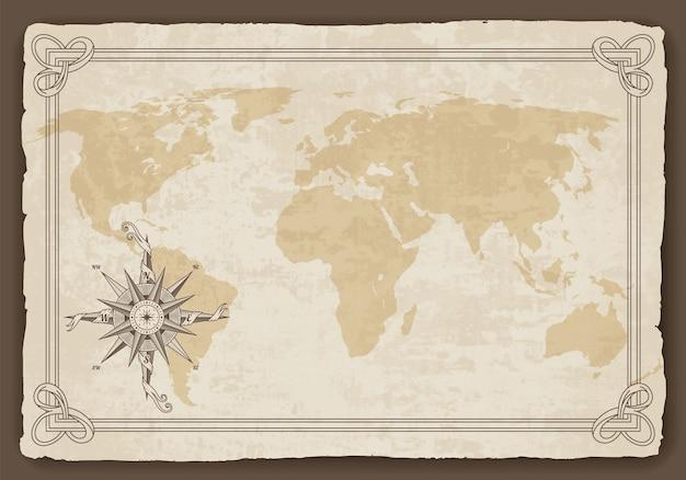 Vecchia mappa del mondo Vettore Premium