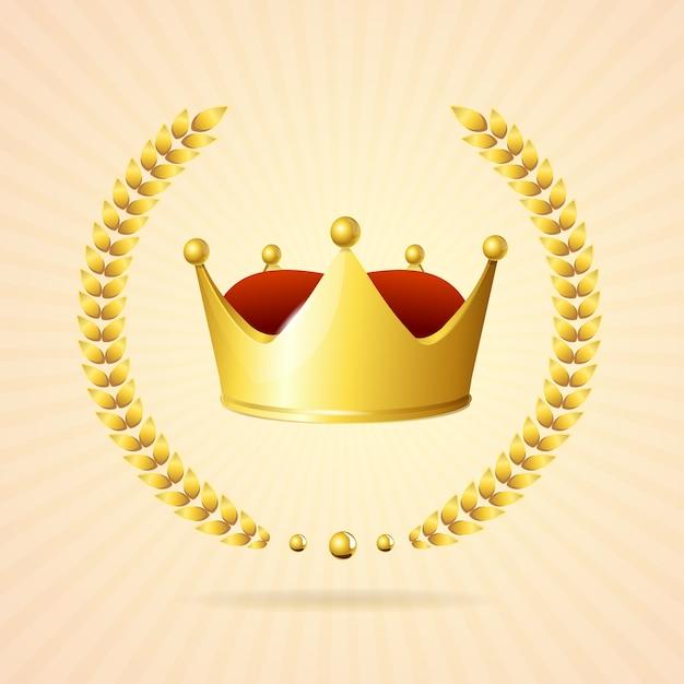 Oldstyle gold royal crown isolato su uno sfondo bianco Vettore Premium