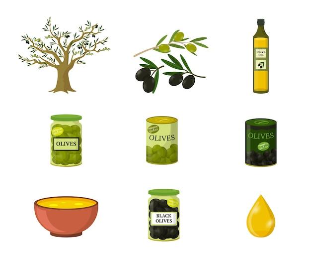 Set di illustrazioni piatte di olio d'oliva, ingrediente alimentare mediterraneo, confezione di cliparts isolato produzione di olio su sfondo bianco, olive nere e verdi del fumetto in bottiglia di vetro e lattine di metallo. Vettore Premium