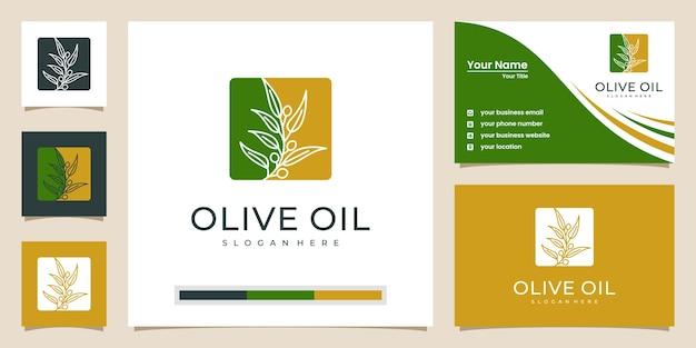 Disegno di marchio e biglietti da visita di ulivo e olio Vettore Premium