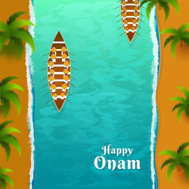 Onam festival celebrazione concept. Vettore Premium