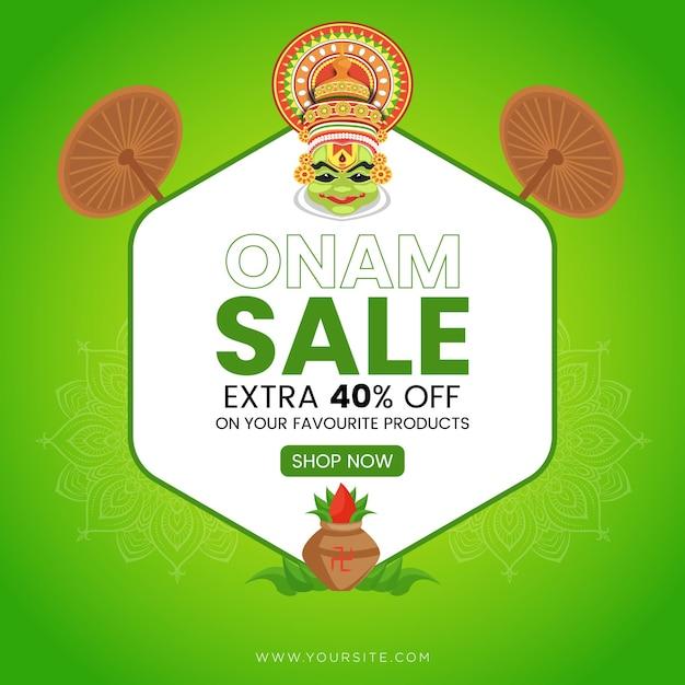 Banner di vendita di onam Vettore Premium