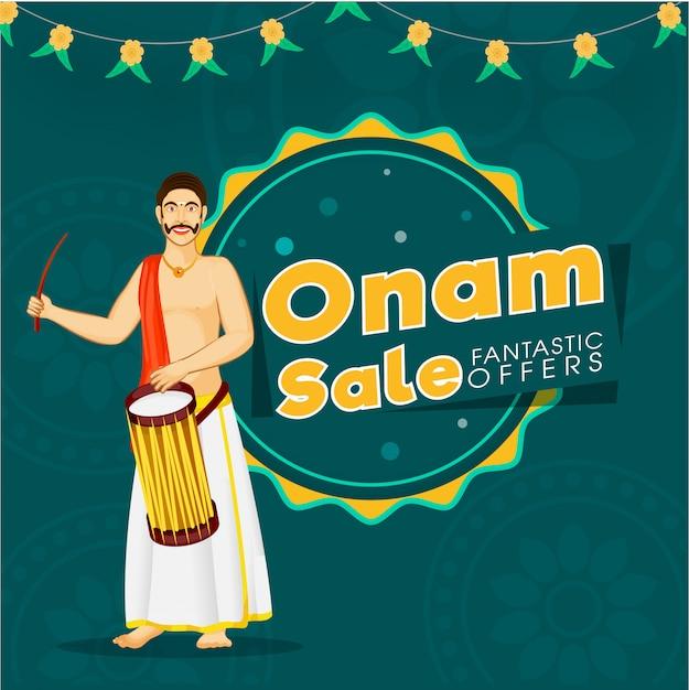 Le offerte fantastiche di vendita di onam mandano un sms a con il tamburo battente dell'uomo indiano del sud su teal blue background per il concetto di pubblicità. Vettore Premium