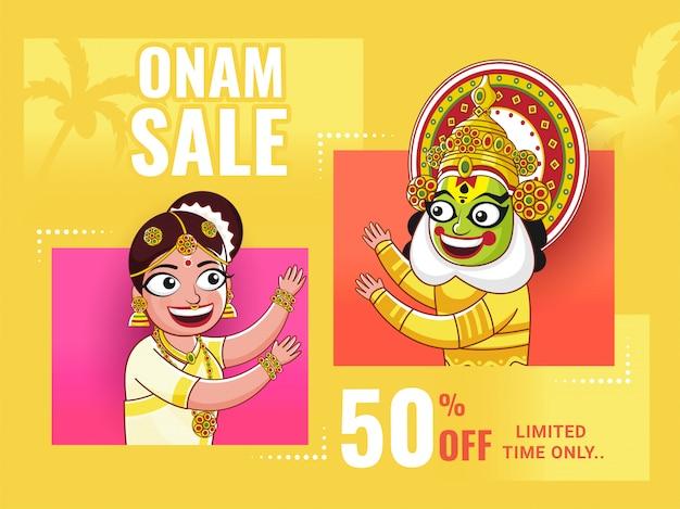 Manifesto di vendita di onam, donna allegra e ballerino di kathakali su fondo giallo. Vettore Premium