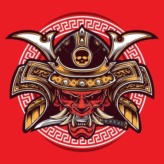 Logo oni maschera samurai Vettore Premium